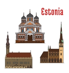 Estonia famous historic architecture icons vector image