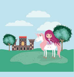 fairy with unicorn in the camp and castle vector image