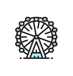 ferris wheel london eye flat color line icon vector image