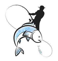 fisherman catches fish design vector image