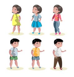 flat baby boy and girl fashion icon set vector image