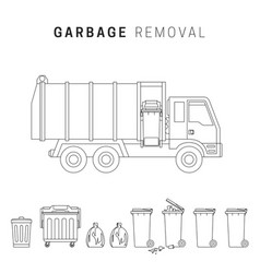 Garbage removal line drawing vector