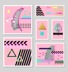 glitch futuristic posters covers set tropical vector image