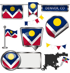 Glossy icons with flag of denver co vector