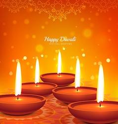 Happy diwali diya design beautiful background vector