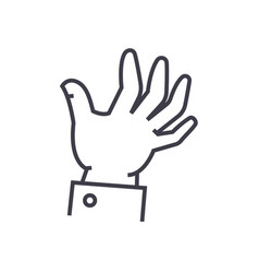 help hand line icon sign on vector image