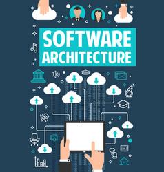 Internet cloud software technology poster vector