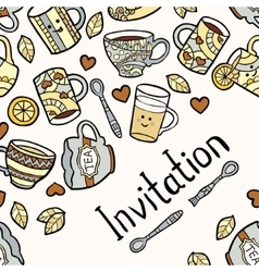 Invitation card with doodle tea accessories on vector image