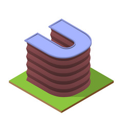 isometric building letter u form vector image