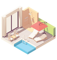 isometric outdoor pool lounge vector image