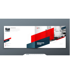 Landscape brochure design red corporate business vector