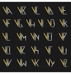 Letter V with alphabet vector