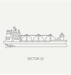 line flat retro icon ocean tanker ship vector image