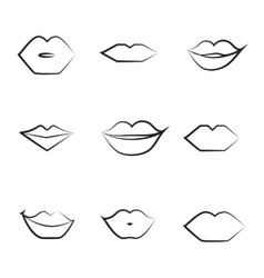 Lips Thin Line Icon Collection vector image