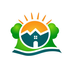 logo real estate house sun and tree vector image