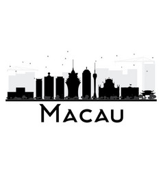 Macau city skyline black and white silhouette vector