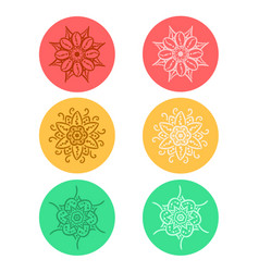 mandala in vintage round ornament pattern set vector image