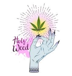 marijuana leaf in female hand isolated over white vector image