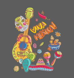 Mexico guitar nachos and mask vector