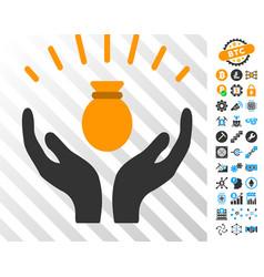 money bag win hands cards with bonus vector image
