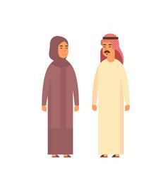 Muslim couple people talking business man vector