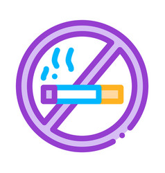 no smoking forbidden sign thin line icon vector image