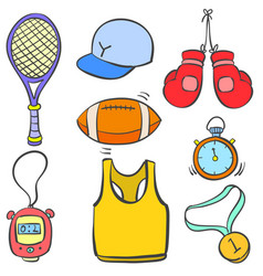 object sport various doodle style vector image