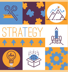 outline strategy icons banner vetor light bulb vector image