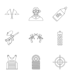 Paintball club icons set outline style vector