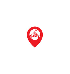 Pin map location with circus logo symbol icon vector