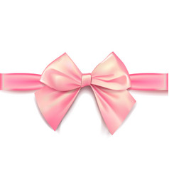 Pink bow for packing gifts realistic vector