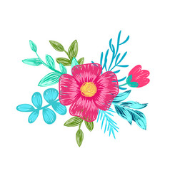 pink flower with branches on vector image