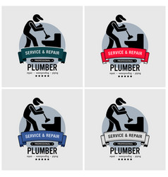 plumber logo design artwork of plumbing repair vector image