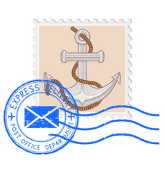 Postal stamp with anchor and blue round postmark vector