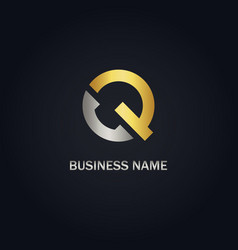 q initial gold logo vector image