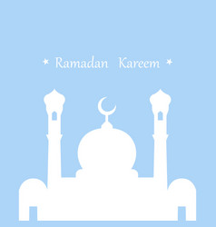 ramadan kareem greeting card in flat design white vector image
