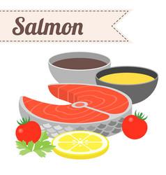 Recipe raw salmon vector