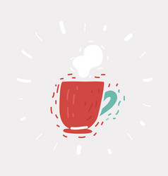 red coffee mug with steam vector image