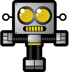 Retro futuristic robot toy cartoon character vector
