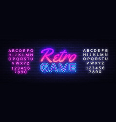 retro games neon sign gaming design vector image