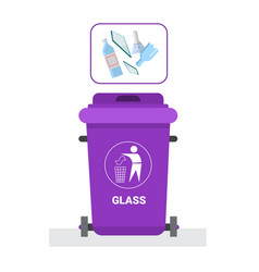 Rubbish container for glass waste icon recycle vector