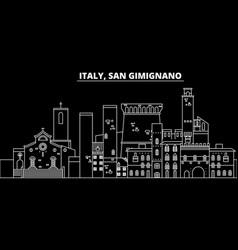 san gimignano silhouette skyline italy - san vector image