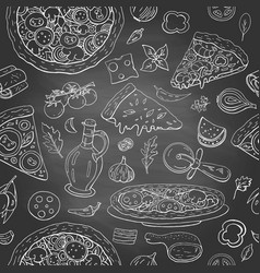 seamless pattern with different italian food vector image