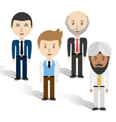 Set avatars men of different diversity over white vector