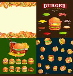 Set burger grilled beef vegetables dressed vector