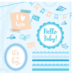 Set elements hello baby boy vector