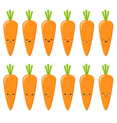 set of cute smiley carrots set of emoji carrot vector image