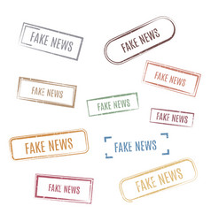 Set stamps fake news vector