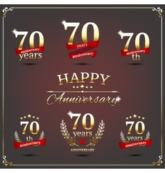Seventy years anniversary signs collection vector image