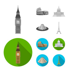 sights of different countries monochromeflat vector image